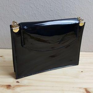 Vintage Black Patent Envelope Clutch Shoulder Bag